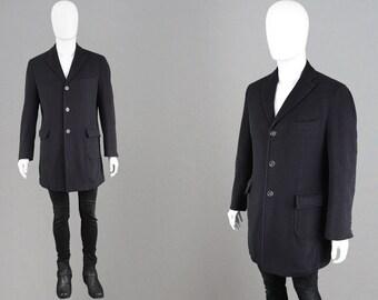 d3b8adcddcd Vintage 90s ENRICO COVERI Cashmere   Wool Italian Wool Coat Mens Cashmere  Coat Single Breasted Peacoat Black Overcoat Elbow Pads Mens Medium