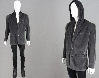 3912f5fcc0 Vintage 80s CALUGI E GIANNELLI Men Hooded Jacket Blazer Jacket Men Grey  Sport Coat Structured Shoulder Pads Designer Jacket Dark Gray Blazer