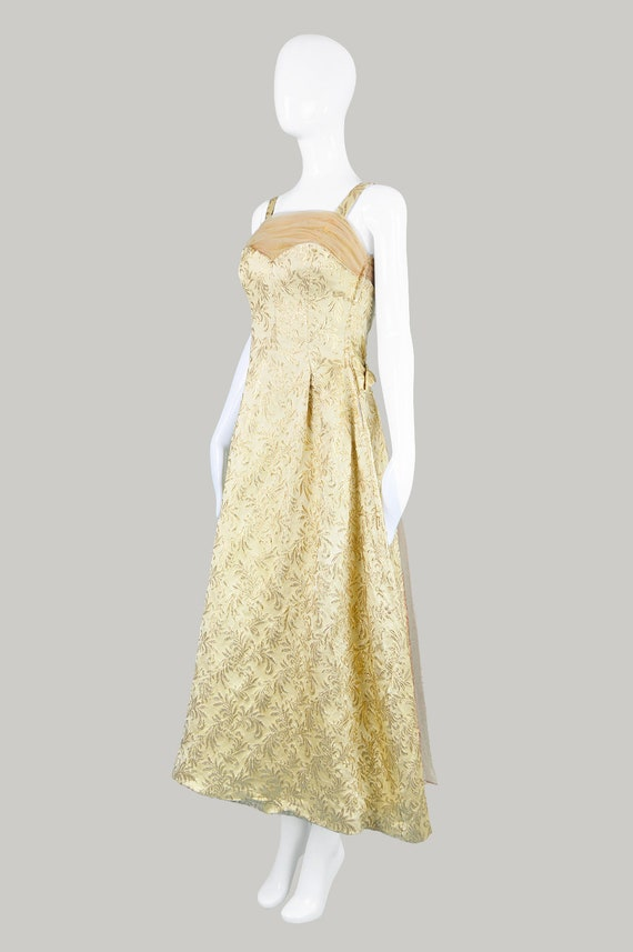 50s Evening Gown Gold Brocade 1950s Evening Dress - image 5