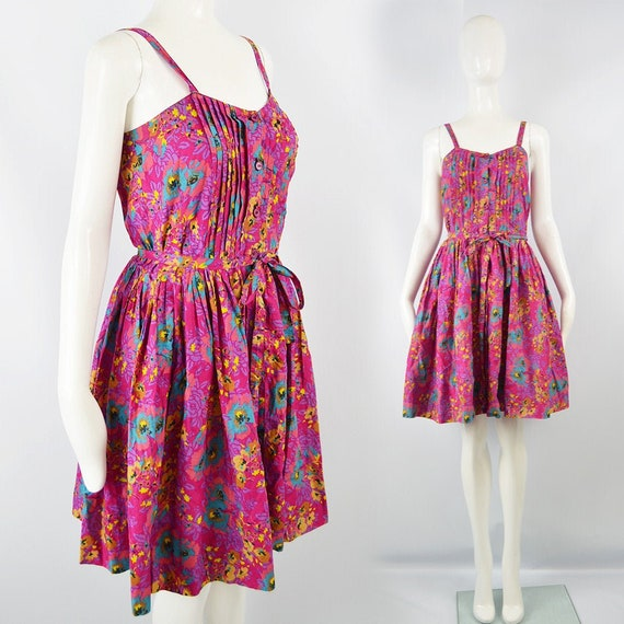 GUY LAROCHE Floral Cotton Dress Fuchsia Pink Summe