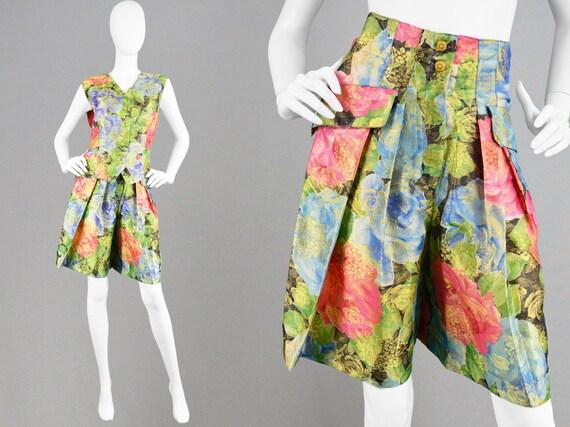 Bright Floral 1980s Pants Leg Print Wide Short Two Piece Gaucho Waistcoat Party Suit Vintage 80s MONDI Culotte Shorts Trousers Suit Pant HqxWfOz