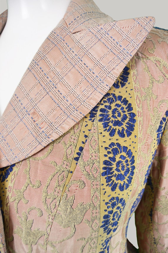 Jahrgang CHRISTIAN LACROIX Damen Blazer Jacke Frauen gemusterte Jacke 1970er Jahre Stil Jacke erreichte Revers Brokat Büro Jacke Jacquard Check
