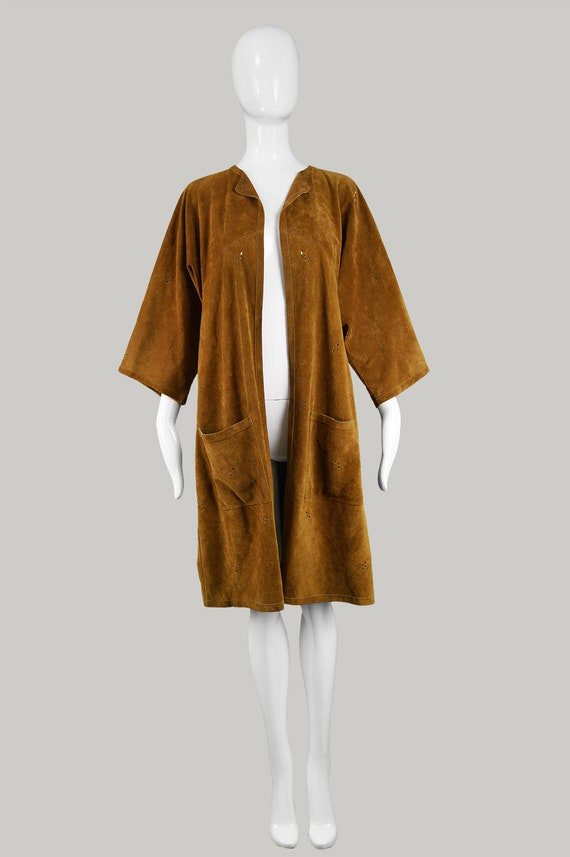 Jacket Coat Duster Vintage JEAN Jacket Jacket Designer MUIR Jacket Suede Kimono Light Suede S 1970s Brown Boho M British Asian 70s Style fwfTq4p