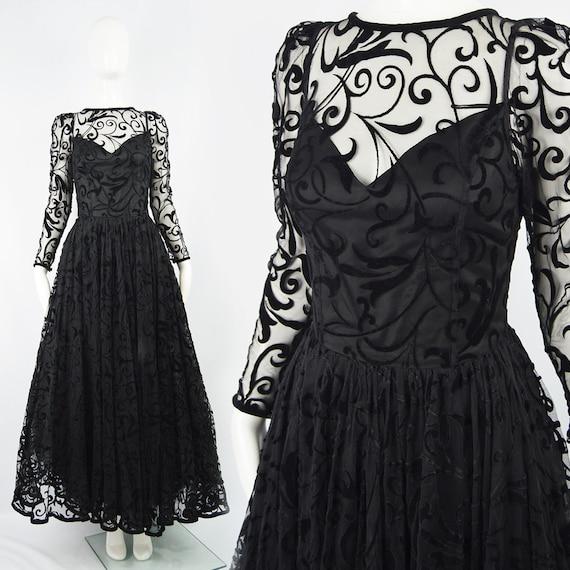 CAROLINE CHARLES 90s Evening Gown Black Tulle Dres