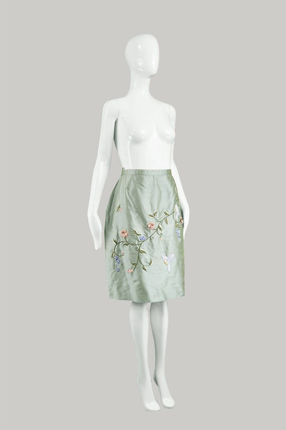 Japanese Vintage Skirt BELLVILLE Skirt Embroidery Mullany 80s Skirt Floral Asian Green Evening SASSSOON Print Skirt Silk Lorcan Embroidered gYrqOYw5