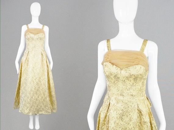 50s Evening Gown Gold Brocade 1950s Evening Dress