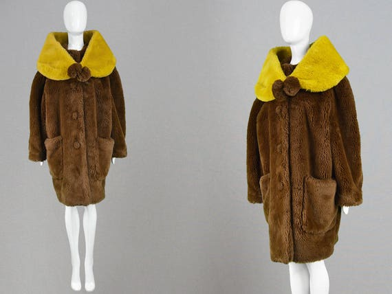 Winter Fur Loose Vintage Coat Wrap Brown Swing 80s Fit PAUL Fake Shawl Faux Glamorous Coat JEAN GAULTIER Coat Fur Yellow Stole Oversized RYr1qanYF