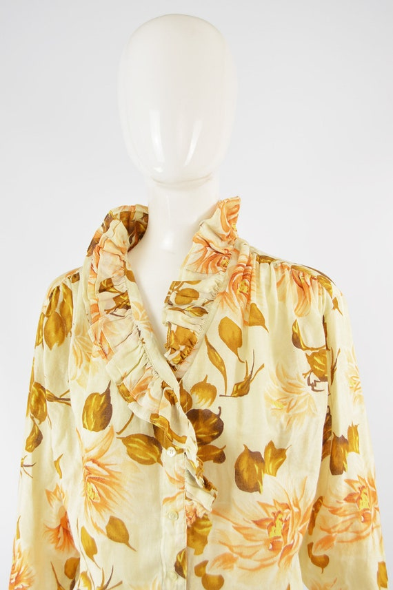 80s KENZO Shirt Frilly Blouse Floral Shirt Woman … - image 3