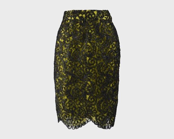 CHRISTIAN LACROIX Green & Black Lace Skirt Raffia