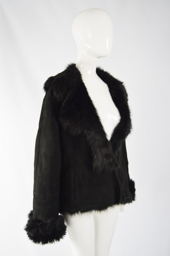 MICHAEL HOBAN Toscana Shearling Coat Black Sheeps… - image 7