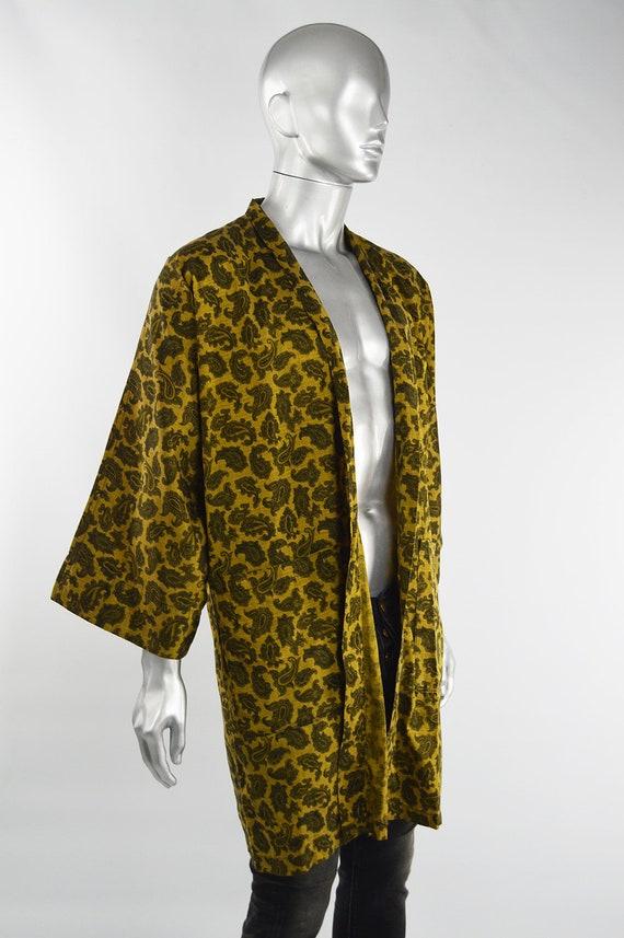 Mens Gold Paisley Print Cotton 60s Smoking Jacket… - image 6