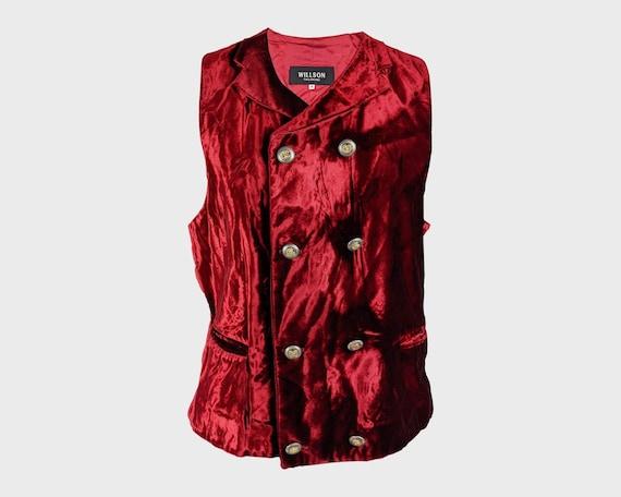90s Bordo floral formal vests Men/'s waistcoat Button down vest Size Medium
