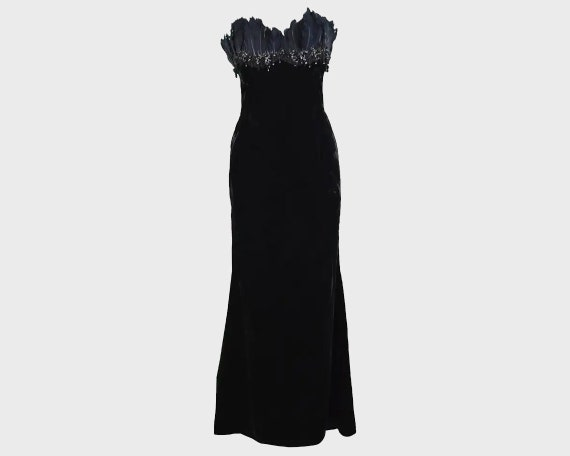ESCADA COUTURE Velvet Evening Gown Feather Dress … - image 1