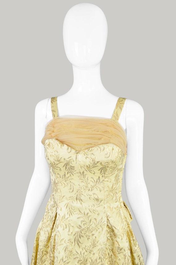 50s Evening Gown Gold Brocade 1950s Evening Dress - image 3