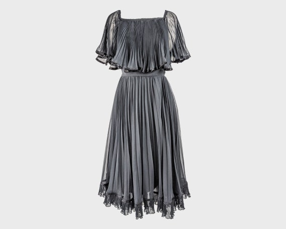 80s CHRISTINA STAMBOLIAN 1980s Party Dress Pleated