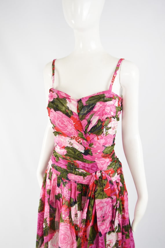 80s Does 50s Style Dress Sun Dress Pink Floral Ga… - image 3