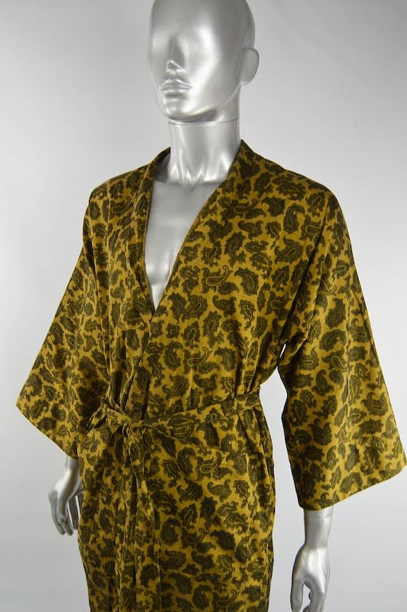 Mens Gold Paisley Print Cotton 60s Smoking Jacket… - image 5