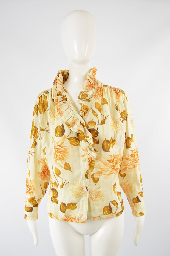 80s KENZO Shirt Frilly Blouse Floral Shirt Woman … - image 2