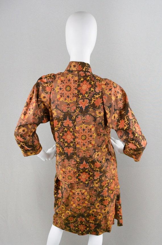 Vintage Oriental Print Waist Silk Jacket Two Brown Floral Midi Paisley Skirt Piece Kimono High Skirt Asian Suit Style Print 70s Inspired rfYqr