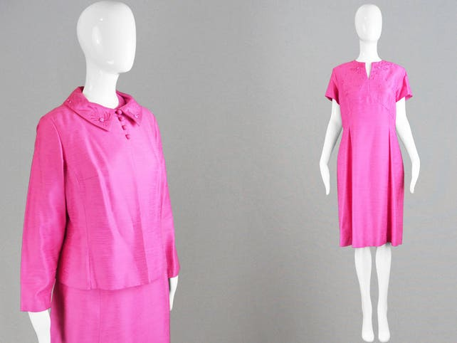 Vintage 60s Two Piece Suit Raw Silk Dress Set Wedding Guest Pink 1960s Ensemble Short Sleeve Dress Mother of the Bride Sixties Mod Outfit