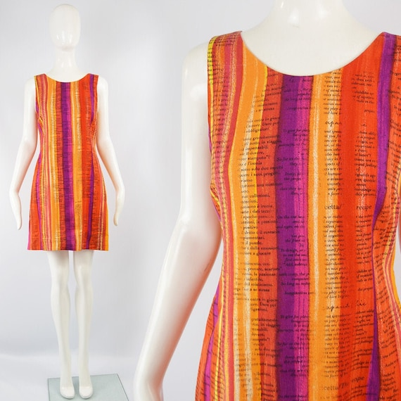Vintage 90s MOSCHINO Dress Orange Summer Dress 199