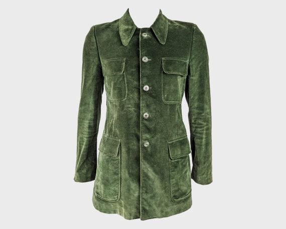 70s Mod Jacket Green Velvet Coat Mens Military Jac