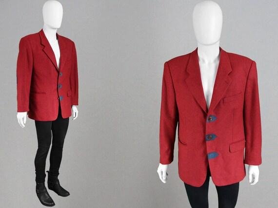 Vintage 80er Jahre KENZO HOMME Herren Blazerjacke strukturiert Schultern roter Wolle Jacke Fischgrat Muster Wildleder Ellenbogen Patches Avant Garde