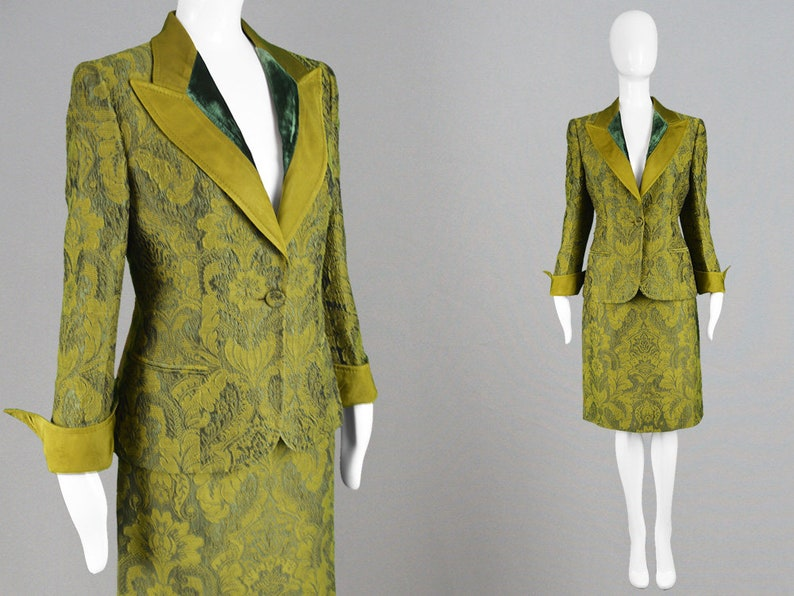a005824c8c5 Vintage GIANFRANCO FERRE Olive Green Brocade Skirt Suit Two