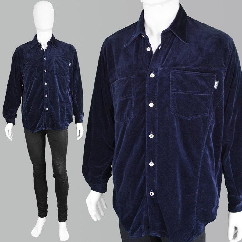 52ffe55ee43 Vintage GIANFRANCO FERRE Mens Velvet Shirt Blue Evening Shirt