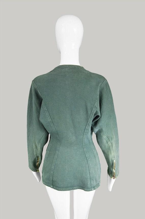 Vintage 80s Denim Jacket Women Stretch Denim Jacket Faded Denim Jacket Green Denim Jacket Collarless Jacket Fitted Jacket 1980s Avant Garde