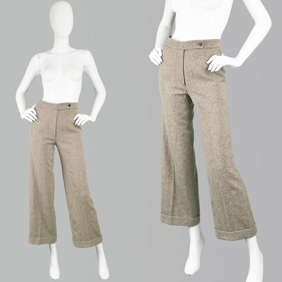 Damen Crop Wide Jahre Palazzo Kaschmir 90er Hose Italienische Vintage Wolle Angoraamp; Krizia Tweed Leg Maßgeschneiderte WDHE2I9