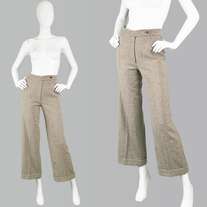 Vintage 90s KRIZIA Pants Italian Wool Angora /& Cashmere Pants Wool Palazzo Pant Womens Tweed Pants Tailored Pants Crop Wide Leg Pants Office