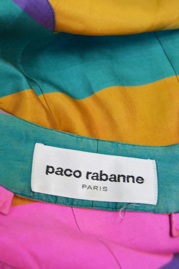 Party Block Two Dress Stripe RABANNE Back Age Space Backless Piece Dress Color Dress Open Skirt PACO Silk Vintage Suit Designer 90s 7qwtTqWf