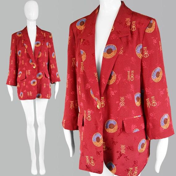 80s BILL BLASS Asian Jacket Red Oversized Blazer J