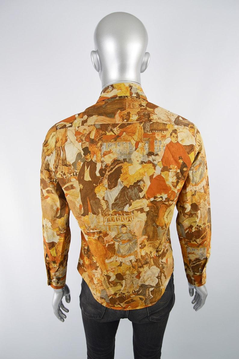 Vintage 70s Disco Shirt Mens Boho Shirt Dagger Collar Impressionist Print Wearable Art Shirt 1970s Shirt Men 70s Shirt Party Top Loud Shirt
