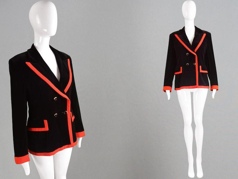 846faf3fe39 Vintage 80s ESCADA Velvet Blazer Black & Red Womens Velvet   Etsy