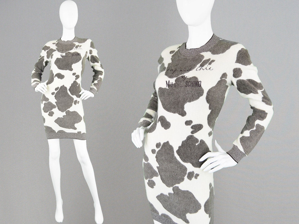 Vintage 80s MOSCHINO Sweater Dress Novelty Print Cow Print  0cd1b699d