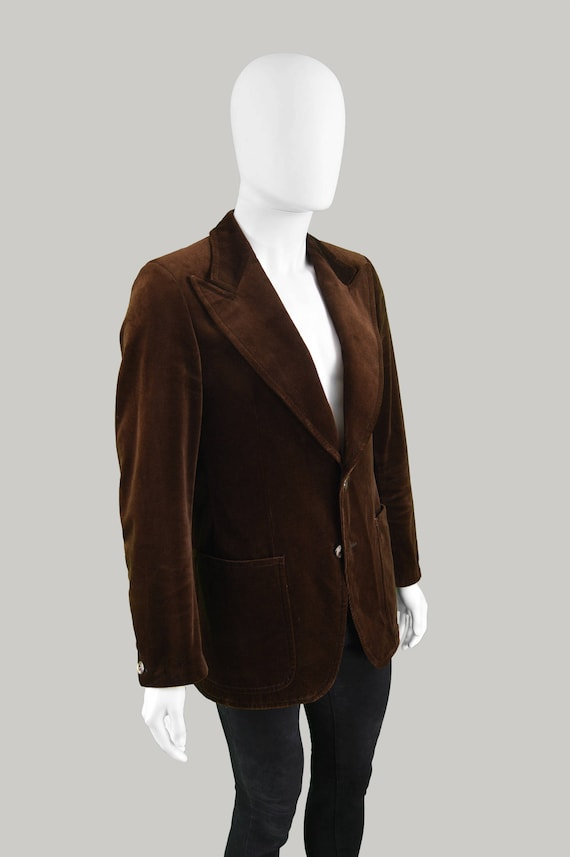 Blazer Velvet Jacket Jacket Velvet Lapels Men's 70s Gents Evening Disco ANGELO Dinner Jacket Vintage Tailored Brown 1970s LITRICO Peaked nHAt8wqpEx