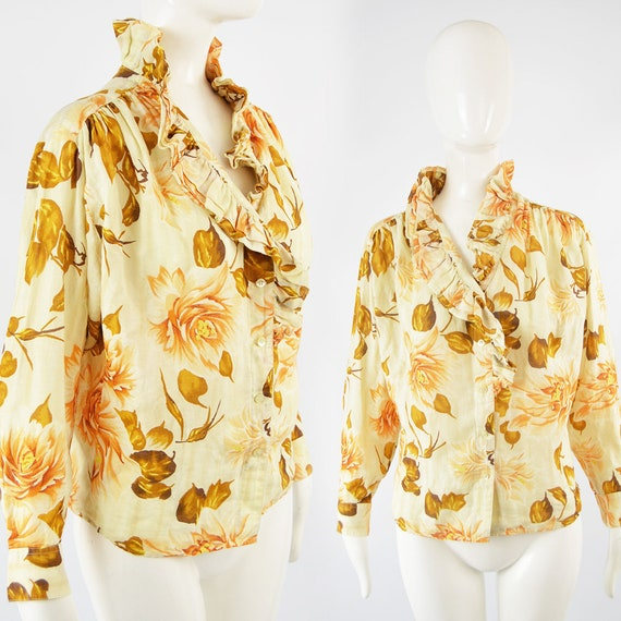 80s KENZO Shirt Frilly Blouse Floral Shirt Woman R