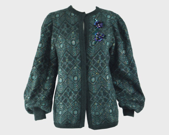 Vintage 80s ESCADA Mohair Sweater Teal Cardigan Gr