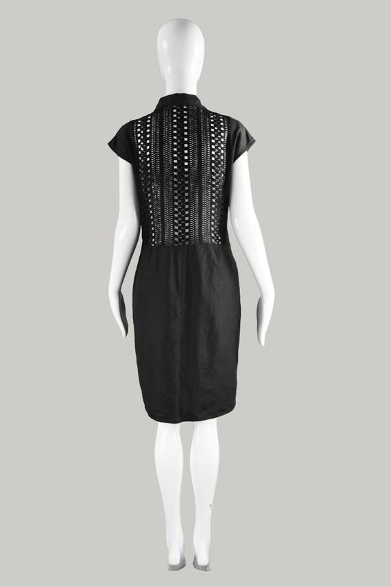 Dress 90s Back Day Cocktail Vintage Trim Crochet Open Backless Spring Shift Dress Black Summer Dress GENNY Dress Shirtdress Dress Linen wgSddqAI
