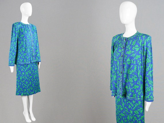 80s AVERARDO BESSI Blue & Green Silk Jersey 2 Piec
