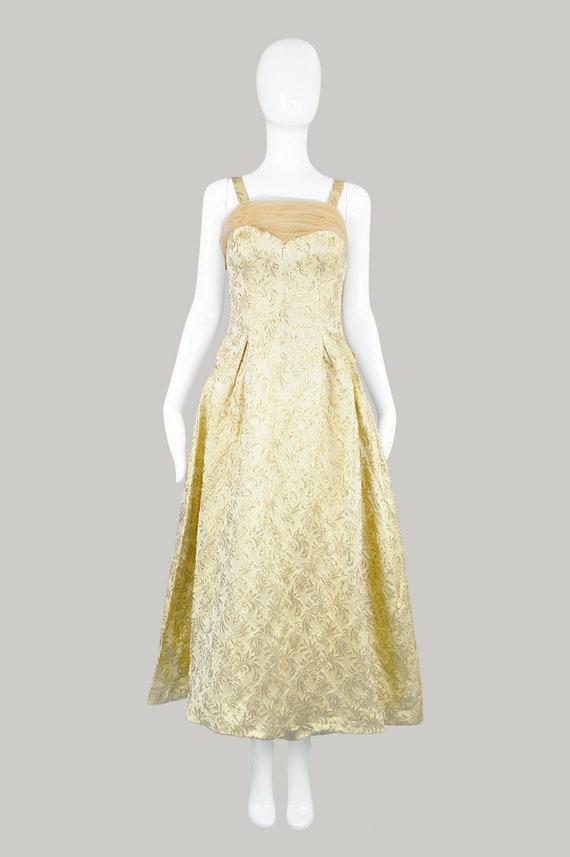 50s Evening Gown Gold Brocade 1950s Evening Dress - image 2