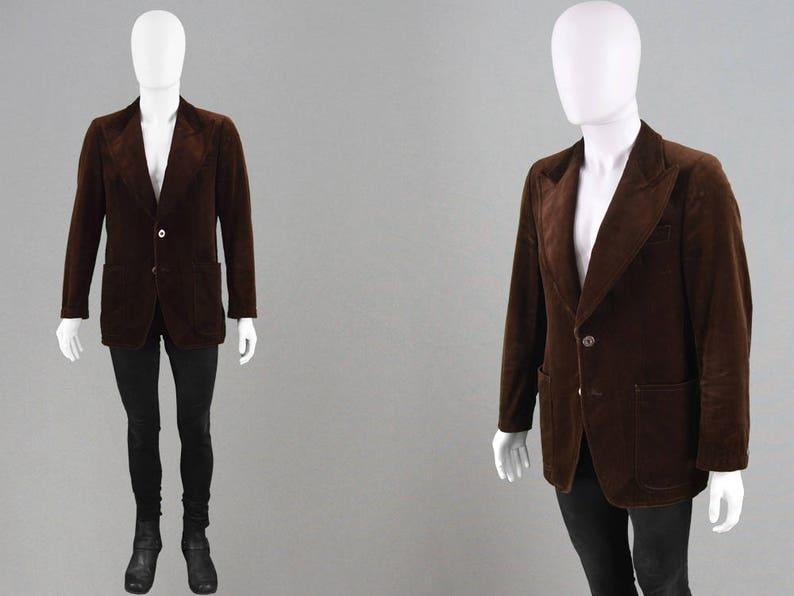 detailed look f2885 a8c4d Velluto Blazer ANGELO LITRICO giacca di velluto marrone vintage 70s-uomo ha  raggiunto il picco revers sera giacca anni 1970 discoteca Gents cena ...