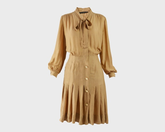 JEAN LOUIS SCHERRER Pussybow Dress Puffed Sleeve S