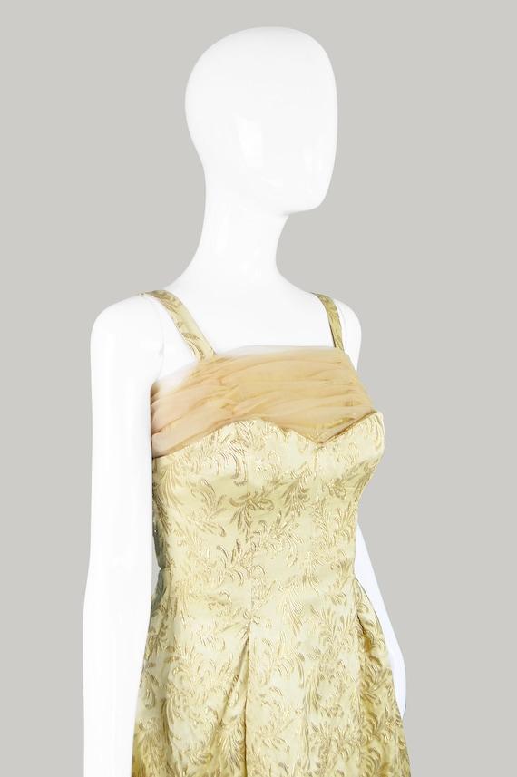 50s Evening Gown Gold Brocade 1950s Evening Dress - image 6