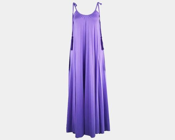 70s FRANK USHER Purple Jersey Dress Long Pleated D