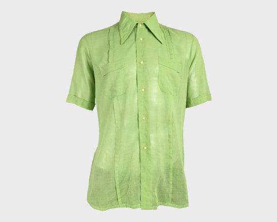 HARRODS 60s Mens Shirt Green Cotton Mens Sheer Shi
