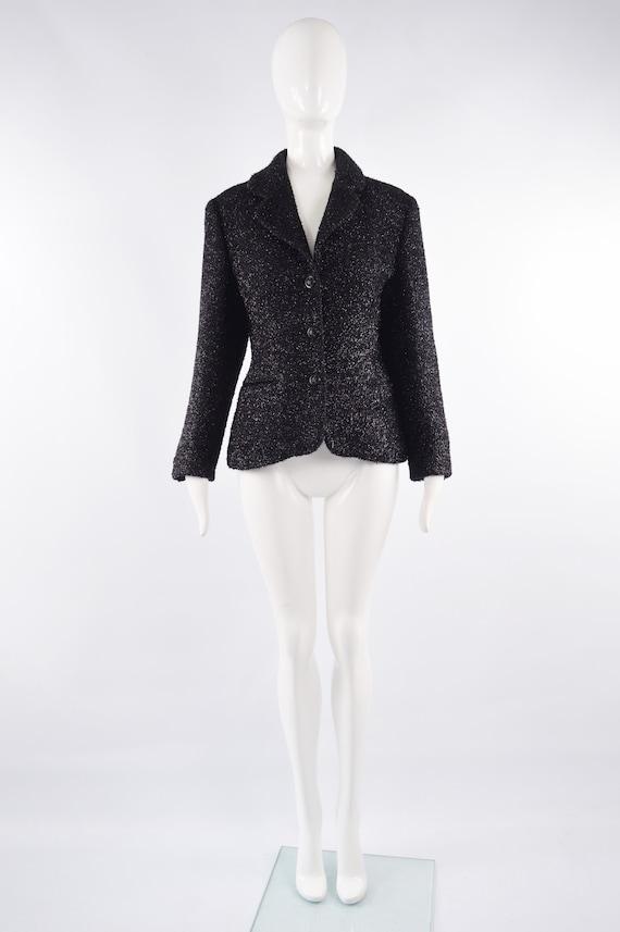 80s BYBLOS Jacket Black Sparkly Fuzzy Wool Blend Party Jacket