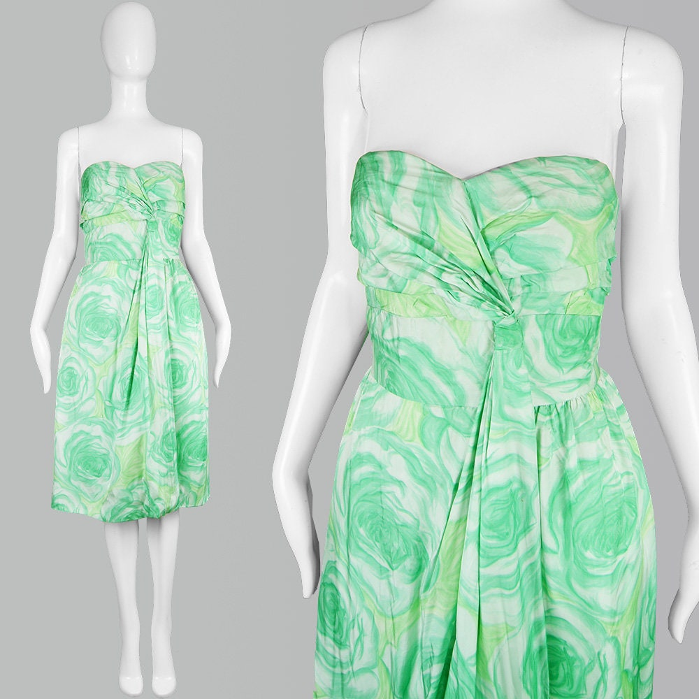 Vintage 50s Party Dress 60s Strapless